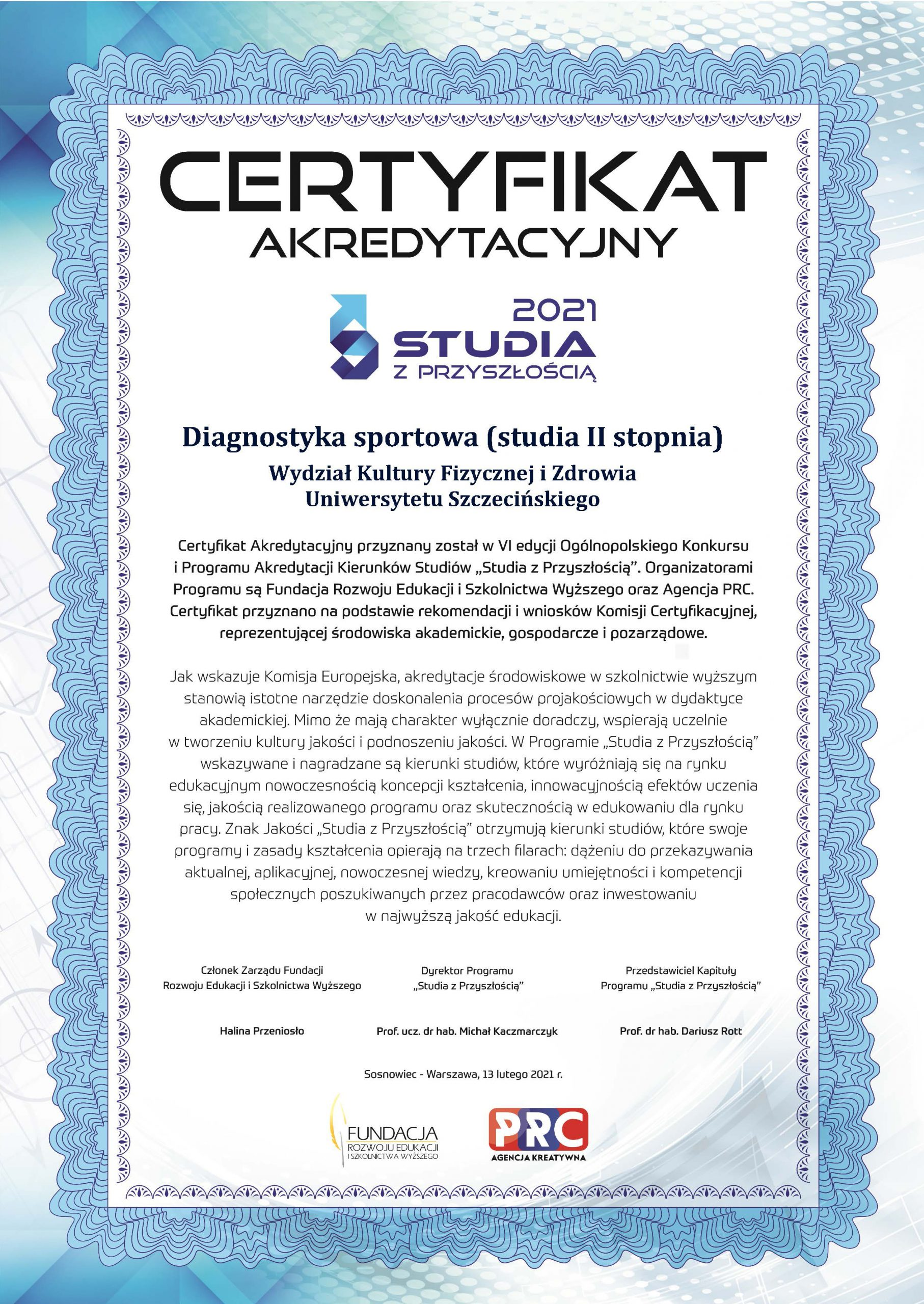 Certyfikat akredytacyjny dla kierunku studiów DIAGNOSTYKA SPORTOWA (studia II stopnia)